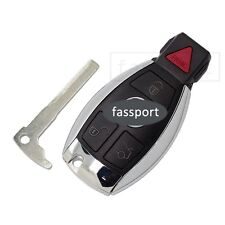 Smart Key Shell + Uncut Blank fit for Replace MERCEDES BENZ Remote Case Fob 4 BN
