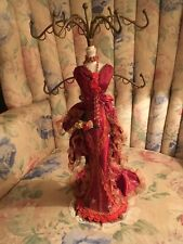 VICTORIAN MANNEQUIN JEWELRY NECKLACE HOLDER DISPLAY STAND BURGUNDY DRESS - NEW
