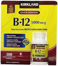 Firma KIRKLAND Vitamina b-12 B12 Metilcobalamina 300 RÁPIDO disolver PASTILLAS