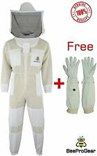 3x Layers Ultra Ventilated Safety Unisex White Fabric Mesh Bee Suit with Gloves