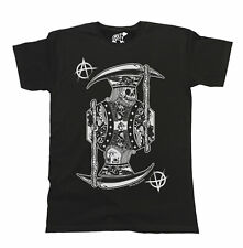 08b82039d308c King Of Anarchy Skull T-Shirt Mens Ladies Goth Grim Reaper Unisex Funny Top  Tee