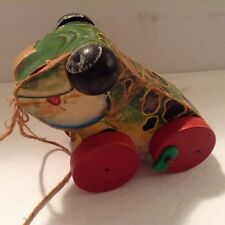 Vintage 1950's Fisher-Price Wooden Pull Toy Wood Whells Jolly Jumper Wood Frog