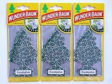 (1,77€/Einheit) 3x WUNDER-BAUM® Eucalyptus Duft NEU Lufterfrischer Autoduft NEW