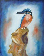 Tableau original de Caillon 30x24 cm martin pêcheur oiseau tableau toile art