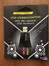 USB AUDIO SOUND ADAPTER with VIRTUAL 7.1 CHANNELS - New