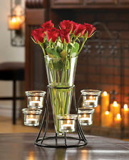 Set of  2  Circle Votive Stand with Vase Candle Wedding Flower Centerpiece Table