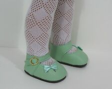"""Lt Green Sidebow Doll Shoes For 14"""" American Girl Wellie Wisher Wishers (Debs)"""