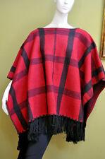 Ralph Lauren Womens Wool Black Fringed Cape Poncho Coat Jacket L/XL