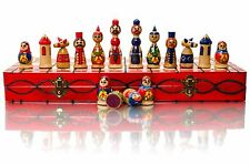 Lovely MATRIOSCA - 42 cm/16.5 in decorativi in legno dipinto a mano set di scacchi