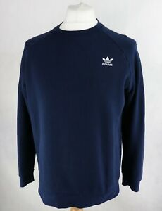 Mens ADIDAS Navy CREW SWEATSHIRT Size MEDIUM Track Pullover Sweater Top Relaxed