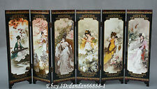 Collect Chinese lacquerwork colour painting beautiful woman folding screen byobu