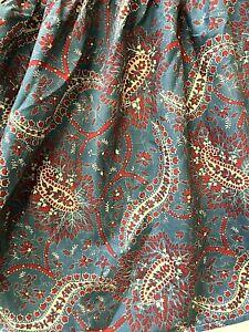 """Ralph Lauren QUEEN Bed Skirt Dust Ruffle 15"""" Drop Blue Red Paisley Floral"""
