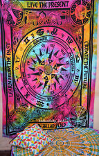 """Indian Traditional Cycle of Ages """"LIVE THE PRESENT"""" Wall Hanging Ethnic Blanket"""