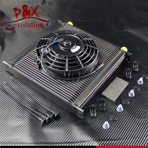 "40 Row Aluminum 10AN Oil Cooler Engine Oil Cooler with 7"" Electric Fan kit"