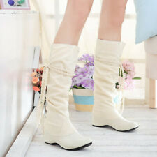 Womens Faux Suede Lace Up Tassel Knee High Riding Boots Hidden Heel Casual Shoes