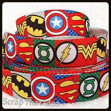 "Superhero RIBBON. 3/8"" Grosgrain. Superman,Grn Lantern,Flash,Wonder Woman,Batman"