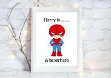personalised SPIDERMAN superhero a4 gloss Print nursery picture unframe  1