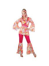 Hippy Flares & Top 60s-70s Fancy Dress Hippie Honey Adult Ladies Costume 6-28