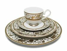 "Royalty Porcelain ""Ellen"" 5pc Place Setting with Gold Floral Pattern"
