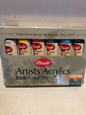 Utrecht Basic Color Set Artists Acrylic 6 Tubes 2 Oz Each