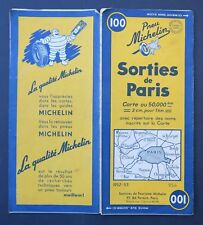 Carte MICHELIN old map n°100 SORTIES DE PARIS 1952 Guide Bibendum pneu tyre