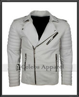 Mens White Boda Biker Leather Jacket Quilted Motorcycle Marlon Brando Jacket
