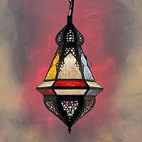Marocaine Lampe Suspendue Suspension Lanterne en Verre Decklampe Lampe Samika
