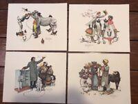 "SET of 4 Vintage Norman Rockwell Print SALESMAN SERIES Each 8""x10"""