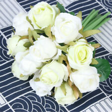 12-Heads Artificial Silk Rose Flowers Fake Bouquet Buch Wedding Home Party Decor