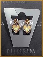 NEW PILGRIM 16K GOLD PLATED EARRINGS BROWN SWAROVSKI CRYSTALS ENAMEL HEART RARE
