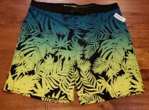 Men's Old Navy Green Yellow Black Tropic Floral Summer Board Shorts Tall Szs 42