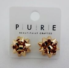 Gift bow earrings small gold silver red or green metal