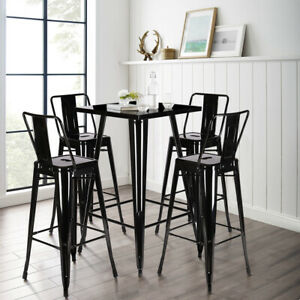 Industrial High Gloss Bistro Bar Table + 4 Stools Chairs Set Dining Breakfast