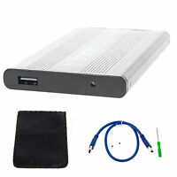 "SILVER HARD DISK DRIVE ENCLOSURE USB 3.0 2.5"" INCH EXTERNAL SATA HDD CASE CADDY"