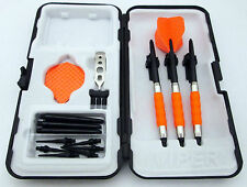 Orange Dimpled Standard Rubberized Sure Grip Soft Tip Dart Set + Case 18 gram -1