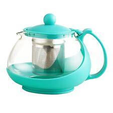 Glass Teapot Tea Infuser Stainless Steel Heat Resistant Plastic Handle Aqua