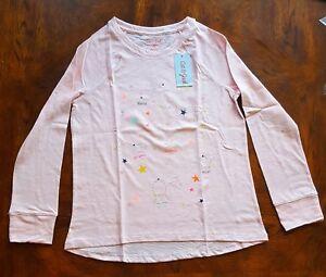 Girls' Cat & Jack Stars Constellations Pink Long Sleeve Shirt, Large Plus 10/12