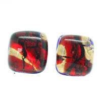 Murano Glass Stud Earrings Red Gold and Blue Handmade Venice