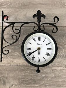 Adorn Abberley Garden Wall Station Clock Ornament double sided Bracket