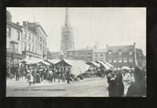 Northants KETTERING Market Place and church PPC