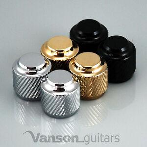 2 x NEW Vanson Double Flat Top Tele® Knobs, Push-On, Chrome, Black or Gold VP004