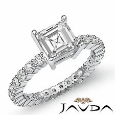Natural Asscher Diamond Eternity Style Engagement Ring GIA I SI1 Platinum 1.8 ct