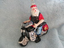 Motorcycle & Bearded Biker Glass Holiday Ornament - Motor Bike & Cool Dude Santa