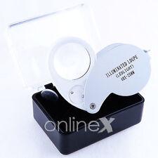 Lupa LED 40x 40x25mm Color  Blanco para Monedas  a957