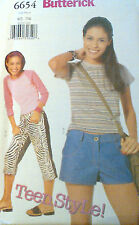 NEW BUTTERICK SEWING PATTERN- 6654 TOP SHORTS PANTS - sizeS 1/2 TO 7/8, modern