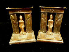 VINTAGE EGYPTIAN PHAROAH & TEMPLE CAST IRON BOOKENDS CIRCA 1920's OR 1930's
