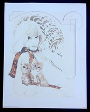 Vintage Signed William W Tara Woman With Kittens 1976 Lithograph Art Print