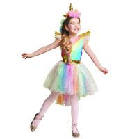 Girls Unicorn Rainbow Costume Tutu Dress Headband Halloween Cosplay Party Kids