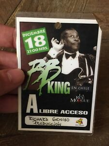 BB King - All Access Pass - Laminated - Chile Backstage