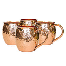 NEW! SET OF 4 100% COPPER HAMMERED MOSCOW MULE MUG - 18oz - HANDMADE IN INDIA